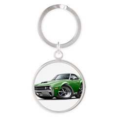 1970 AMX Green Car Round Keychain