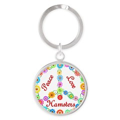 Peace Love Hamsters Round Keychain