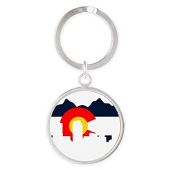 Colorado Rockies Flag Round Keychain
