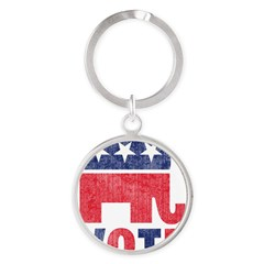 Republican Vote 2 Round Keychain