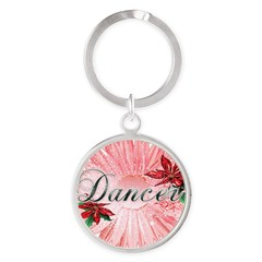 Dancer Pink Snow Flower Round Keychain