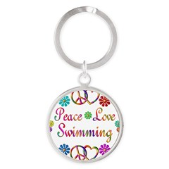 Peace Love Swimming Round Keychain