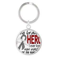 Bravest Hero I Knew Brain Cancer Round Keychain
