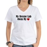 Heart Owning Rescue Lab Women's V-Neck T-Shirt