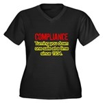 Compliance Turn Down Women's Plus Size V-Neck Dark