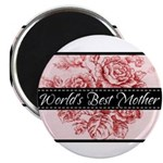 """Pink Toile World's Best Mother Mom 2.25"""" Magnet (1"""