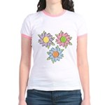 Pretty Mother's Day Cartoon Flowers Jr. Ringer T-S