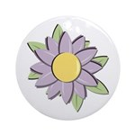 Purple Cartoon Flower Spring Ornament (Round)