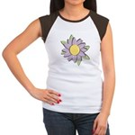 Purple Cartoon Flower Spring Women's Cap Sleeve T-
