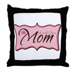 Pink World's Best Mom Plaque Throw Pillow