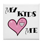My Kids Love Heart Me Mom Teacher Tile Coaster