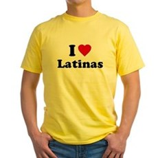 I Love [Heart] Latinas Yellow T-Shirt