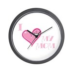 I Love Heart My Mom Mother's Pink Wall Clock