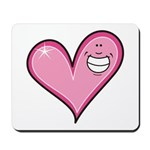 Pink Heart Cartoon Smile Smiley Mousepad