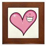 Pink Heart Cartoon Smile Smiley Framed Tile