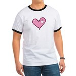 Pink Heart Cartoon Smile Smiley Ringer T