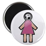 "Pink Soccer Mom Cute Girl Art 2.25"" Magnet (10 pac"