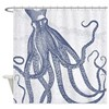Vintage Octopus In Navy Blue With Shower Curtain