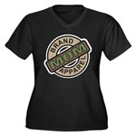 Mom Name Brand Apparel Logo Women's Plus Size V-Ne