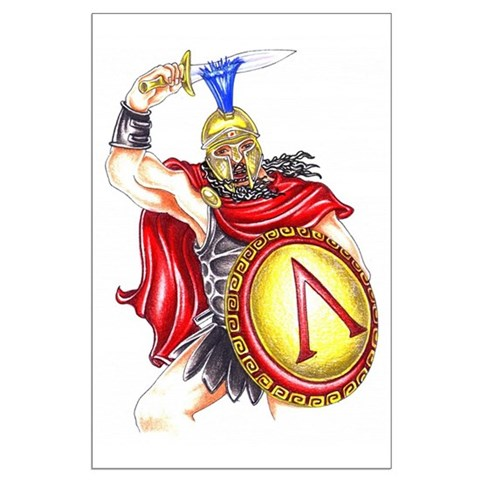 Great spartan soldier in battle dress with sword raised. Tattoo design gift