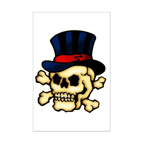 Skull in Top Hat Tattoo Art Posters. Made by trendyteeshirts.com