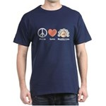 Peace Love Heart Beethoven T-Shirt Navy Blue