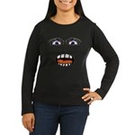 Shocked Cartoon Face Women's Long Sleeve Dark T-Sh