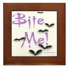 """Bite Me!"" Just Vampires.com Framed Tile"