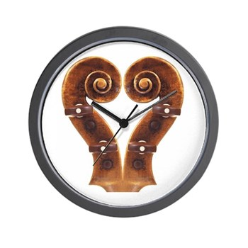 Violin Scroll Heart Clock