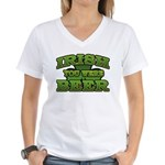 Irish You Were Beer Shamrock Women's V-Neck T-Shir