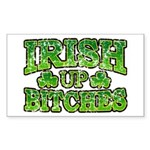 Distressed Drink Up Bitches Shamrock Sticker (Rect