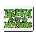 Distressed Drink Up Bitches Shamrock Mousepad