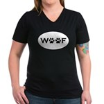 Woof Paws Women's V-Neck Dark T-Shirt