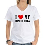 Love My Rescue Dogs Women's V-Neck T-Shirt