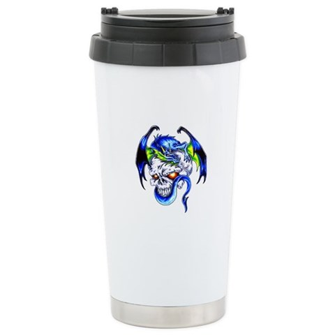 Dragon Skull Motorcycle Tattoo Travel Mug