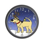 Reindeer Yellow Lab Clock (Cartoon)