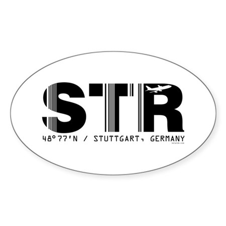 Stuttgart Airport Code Germany STR Oval Sticker