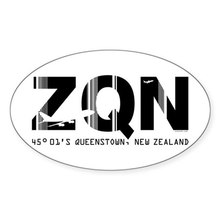 Queenstown Airport New Zealand ZQN Oval Sticker