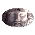Plato: Humour Beer Wisdom Oval Sticker