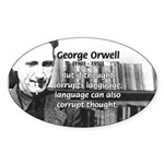 George Orwell: Language Thought Oval Sticker