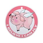 I Believe I Can Fly Inspirational Flying Pig Ornaments