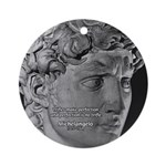 David with Michelangelo Quote Ornament (Round)