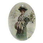 """Xmas Holly Lady"" Ceramic Art Pendant - Ornament"