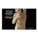 Michelangelo Angel in Sculpture Sticker (Rectangul
