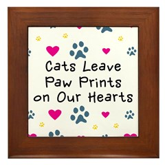 Cats Leave Paw Prints Framed Tile