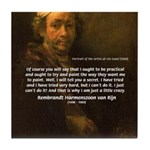 Renbrandt Self Portrait & Quote Tile Coaster