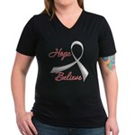Hope Believe Diabetes Women's V-Neck Dark T-Shirt