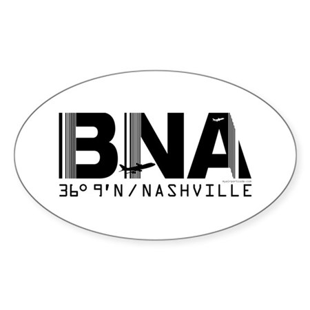 Nashville Tennessee Airport code BNA Sticker Oval