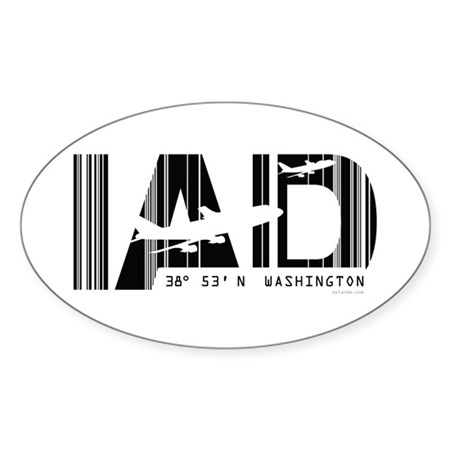 Washington airport code Dulles IAD Sticker (Oval)