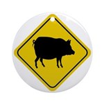 Pig Crossing Sign Ornaments